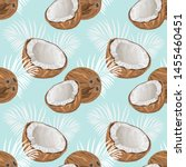 seamless pattern with coconuts... | Shutterstock .eps vector #1455460451