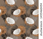 seamless pattern with coconuts... | Shutterstock .eps vector #1455460454