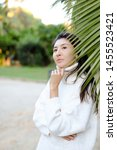 chinese pretty woman in white... | Shutterstock . vector #1455523421