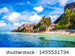 Small photo of The famous beach, Source d'Argent at La Digue Island, Seychelles