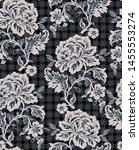 rose lace black pattern seamless | Shutterstock . vector #1455553274