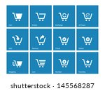 shopping cart icons on blue...
