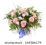 Floral arrangement, bouquet of white daisies and pink roses. Floral composition. - stock photo