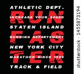 Vector illustration on a theme of marathon and running in new york city, staten Island, sport typography, t-shirt graphics, poster, print, run, banner, flyer, postcard, vector