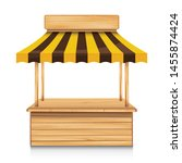 wood street stall with yellow... | Shutterstock .eps vector #1455874424