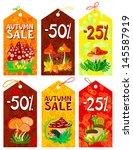 cute mushrooms autumn tags set | Shutterstock .eps vector #145587919