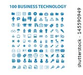 100 business technology   blue... | Shutterstock .eps vector #145590949
