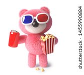 Cute cuddly pink teddy bear eating popcorn and drinking soda while watching a 3d movie, 3d illustration render