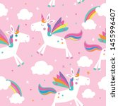 seamless pattern with unicorns  ... | Shutterstock .eps vector #1455996407