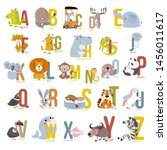 animal alphabet graphic a to z. ... | Shutterstock .eps vector #1456011617