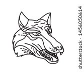 wolf illustration with line art ... | Shutterstock .eps vector #1456050614