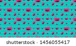 mint background with doodle... | Shutterstock .eps vector #1456055417