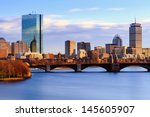Back Bay Boston Skyline On A...