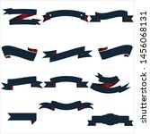 navy blue and red ribbon set... | Shutterstock .eps vector #1456068131
