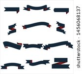navy blue and red ribbon set... | Shutterstock .eps vector #1456068137