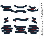 navy blue and red ribbon set... | Shutterstock .eps vector #1456068167