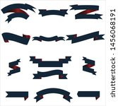 navy blue and red ribbon set... | Shutterstock .eps vector #1456068191