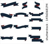 navy blue and red ribbon set... | Shutterstock .eps vector #1456068194