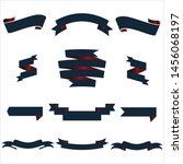 navy blue and red ribbon set... | Shutterstock .eps vector #1456068197