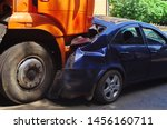 Small photo of car crash accident on the road. truck and passenger car collision