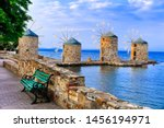 Traditional Greece series - old windmills over sea in Chios island