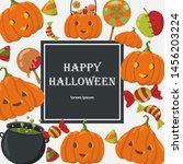 halloween vector background.... | Shutterstock .eps vector #1456203224