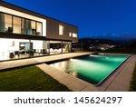 modern villa  night scene view... | Shutterstock . vector #145624297