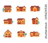 building icons   residential  ... | Shutterstock .eps vector #145624534