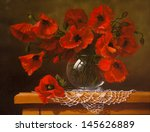 Oil Painting On Canvas   Poppy