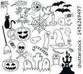 halloween overlays  doodle... | Shutterstock .eps vector #1456269497