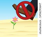 don't walk on the flower... | Shutterstock .eps vector #1456293647
