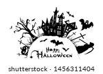 happy halloween. a castle of... | Shutterstock .eps vector #1456311404
