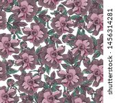 seamless pattern with peonies... | Shutterstock .eps vector #1456314281
