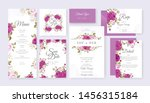 wedding card set template with... | Shutterstock .eps vector #1456315184