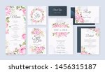 Stock vector wedding card set template with beautiful floral and leaves background 1456315187