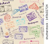 seamless texture with real visa ... | Shutterstock .eps vector #145632724