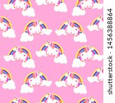 cute unicorns and rainbows pink ... | Shutterstock .eps vector #1456388864