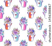 flowers in watering can bright... | Shutterstock .eps vector #1456388867