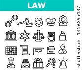 law and order linear icons set. ... | Shutterstock . vector #1456395437