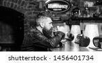 guy bearded man sit at bar... | Shutterstock . vector #1456401734