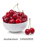 Bowl Of Fresh Red Cherries On...
