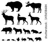 Stock vector animals living in european forest vector icon set of silhouette 145658684