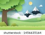 paper craft of forest  vector... | Shutterstock .eps vector #1456635164
