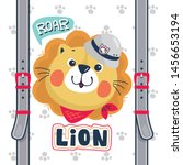 cute lion head wearing safari... | Shutterstock .eps vector #1456653194