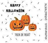 happy halloween. pumpkins faces ... | Shutterstock .eps vector #1456674974