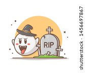 cute ghost with tombstone... | Shutterstock .eps vector #1456697867