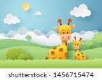 paper craft of giraffe and... | Shutterstock .eps vector #1456715474