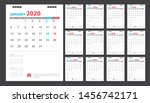 calendar for 2020 blue and red... | Shutterstock .eps vector #1456742171