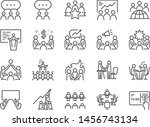 meeting line icon set. included ... | Shutterstock .eps vector #1456743134