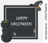 halloween greeting card. vector ... | Shutterstock .eps vector #1456746641